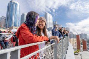 two women on the bridge