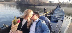 two women kissing in gondola