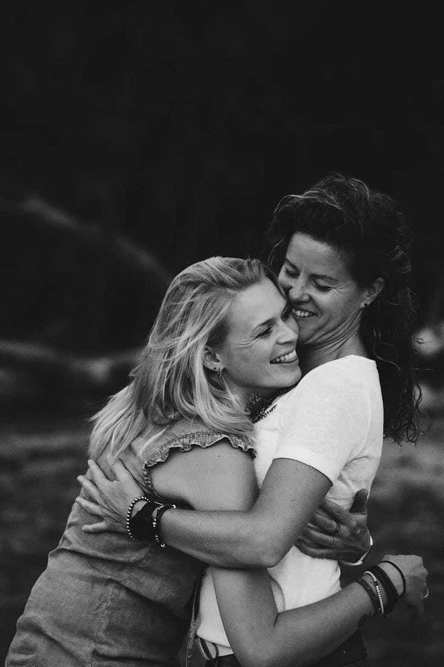 two women white and black photo