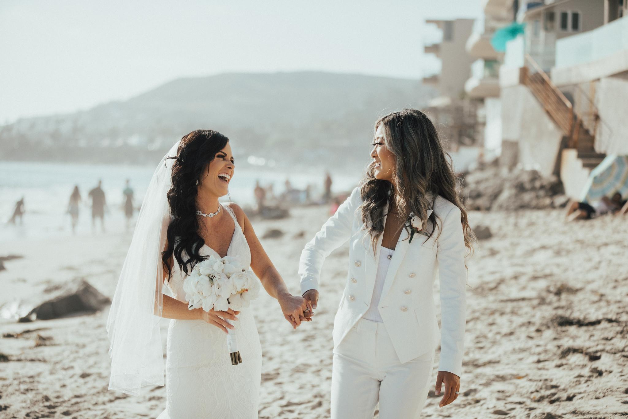 lesbian couple, lesbian wedding, two brides, same sex wedding, beach