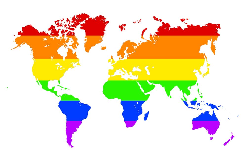 Map of the world, colorful, rainbow